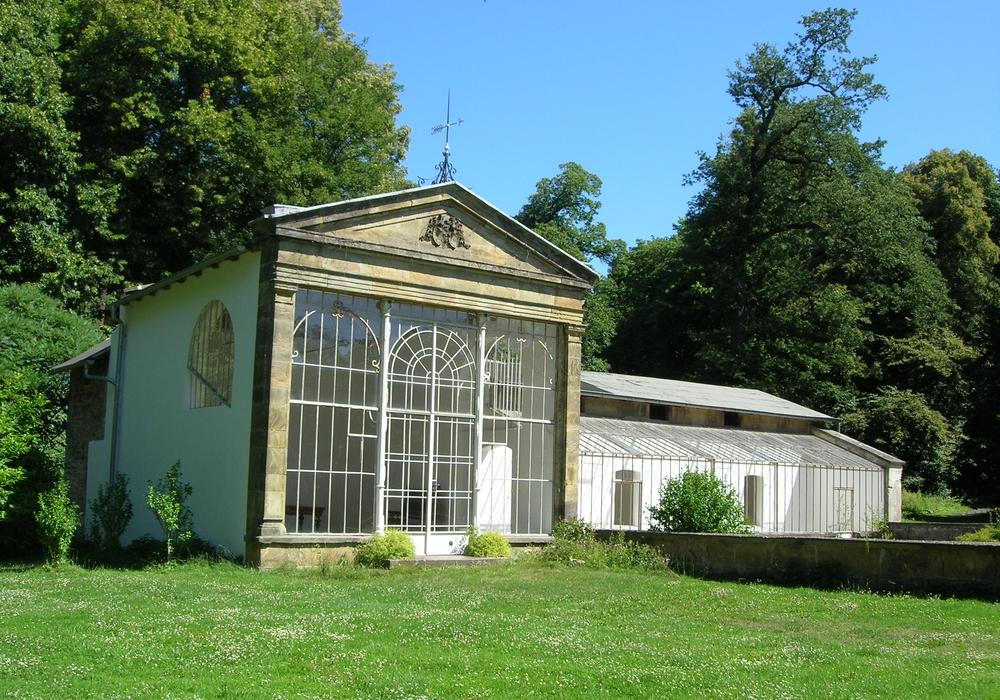 Archivfoto des Palmenhauses im Schlosspark Destedt (aufgenommen von der Familie von Veltheim).