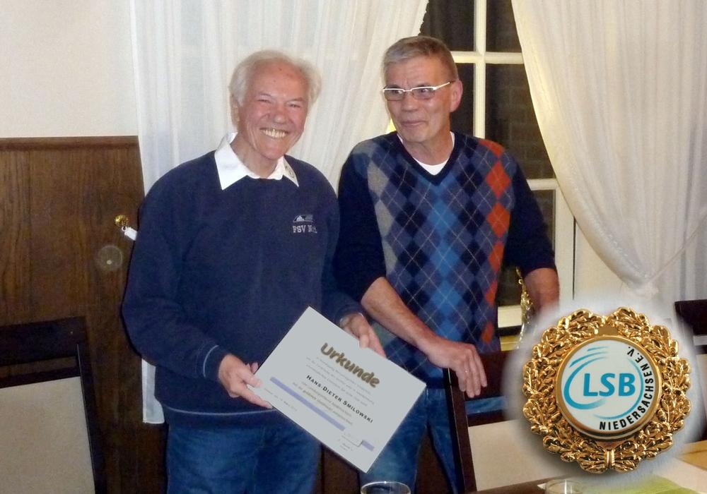 Hans-Dieter Smilowski und KSB Vorsitzender Hans-Herbert Böhme. Foto. NFV Kreis GF
