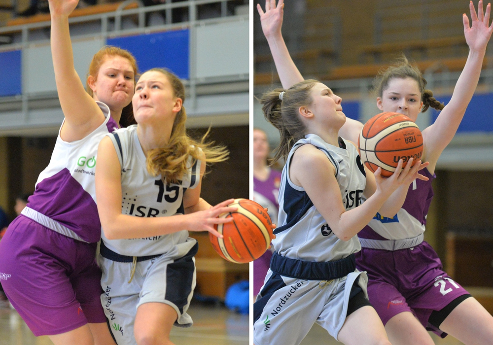 Lara Bosse und Lena Lingnau am Ball (vl.). Fotos: Thorsten Wildrich