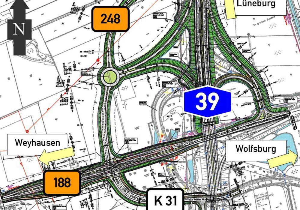 Im Zuge des Planfeststellungsverfahrens zur A 39 haben sich einige Änderungen ergeben, die jedoch die Trassenführung nicht betreffen. Bildquelle:  NLStBV
