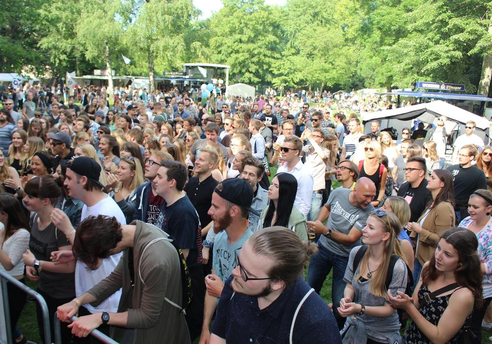 """Die zahlreichen Gäste sammeln sich bei """"Fuck Art, Let`s Dance""""  vor der Bühne. Foto: Max Förster"""