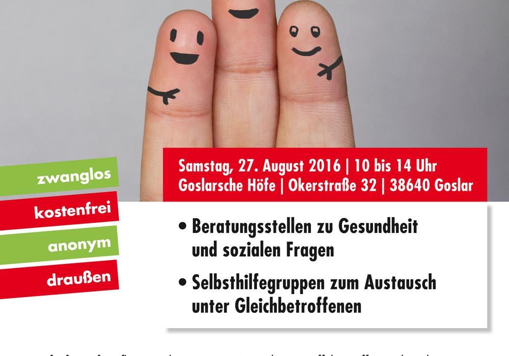Am Samstag, 27. August findet von 10 bis 14 Uhr in den Goslarsche Höfen, Okerstraße 32, Goslar, der erste Beratungs- und Selbsthilfemarkt statt, Plakat: Veranstalter