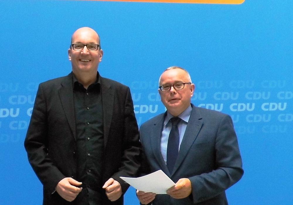 Frank Niebuhr (l.), Mitgliederbeauftragter der CDU Deutschlands, und Andreas Meißler während des Auftaktgespräches im Konrad-Adenauer-Haus. Foto: privat