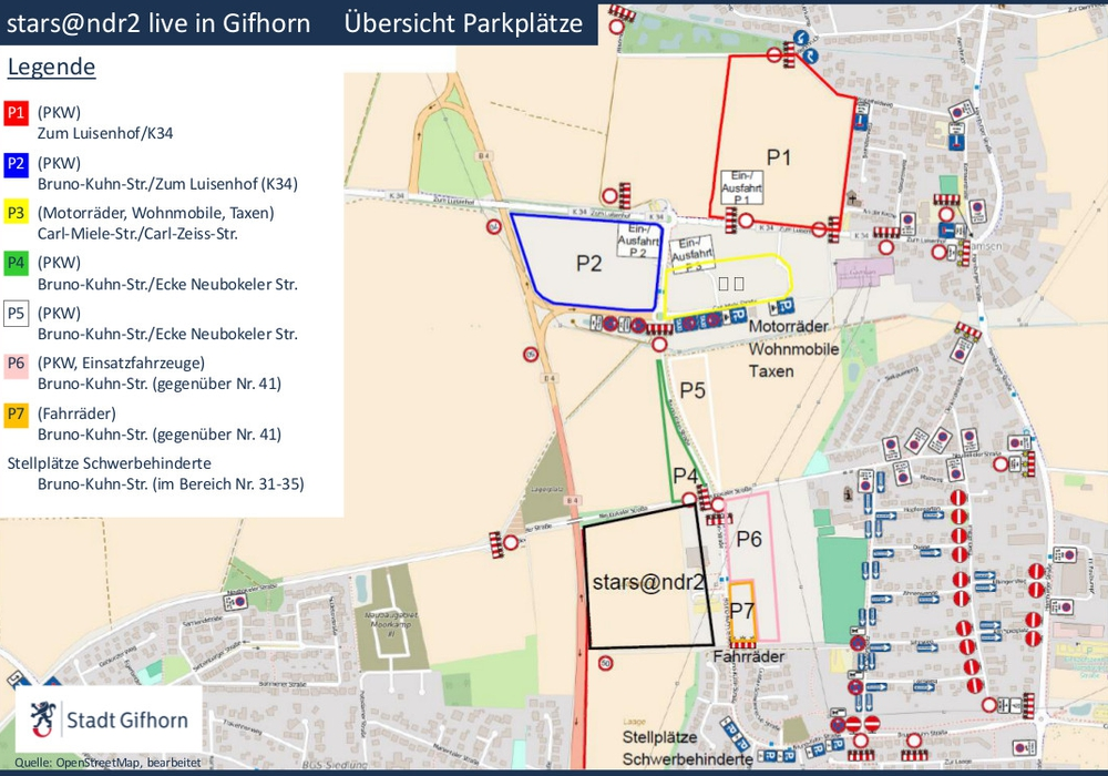 Übersicht über die Parkmöglichkeiten während der Veranstaltung. Grafik Stadt Gifhorn