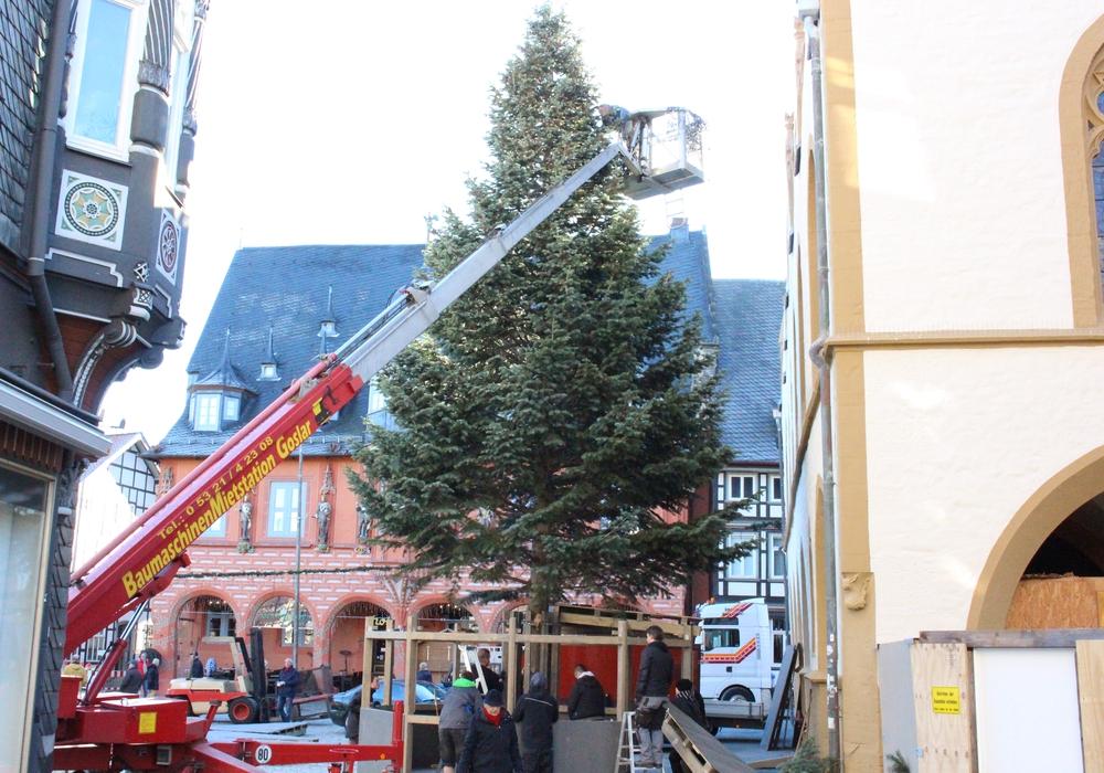 Die Vorbereitungen für den diesjährigen Goslarer Weihnachtsmarkt sind bereits in vollem Gange. Foto: Nino Milizia