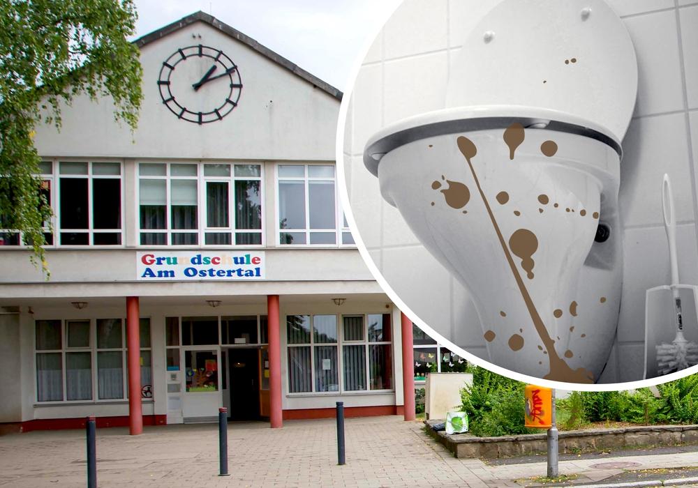 Ekel-Alarm an der Grundschule Ostertal. Laut Stadt waren hier Toiletten mit Kot beschmiert. Foto: Rudolf Karliczek/Nick Wenkel