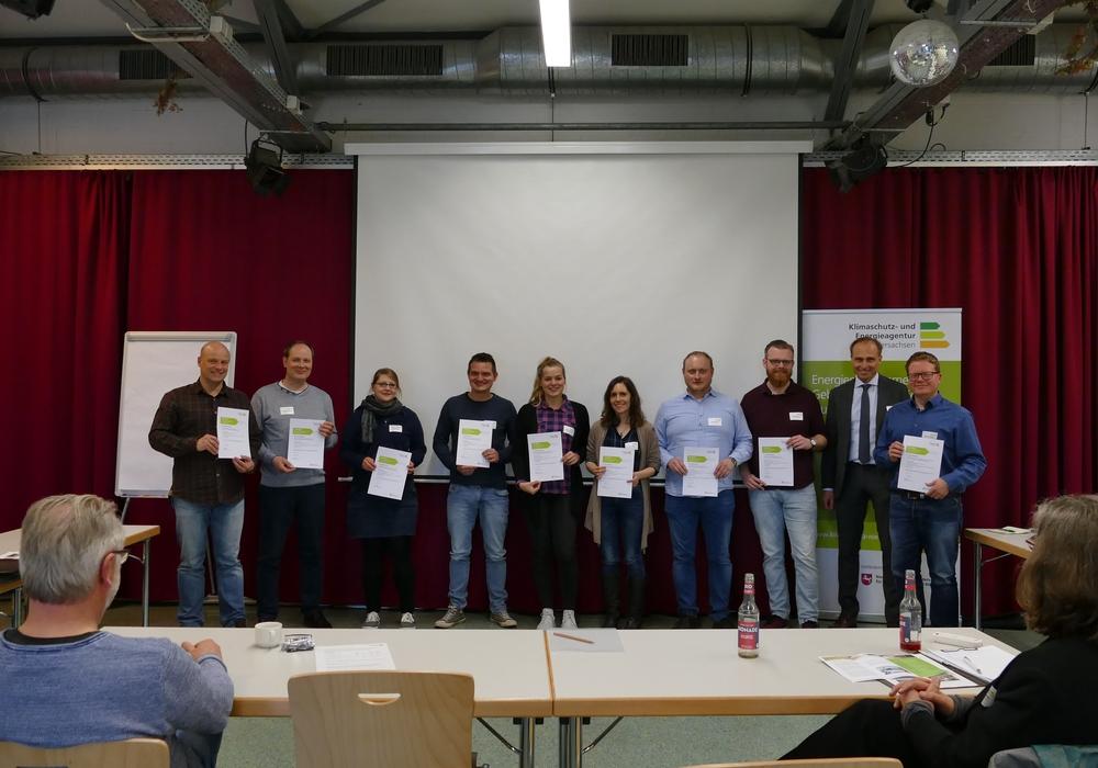Teilnehmer der Qualifizierungsmaßnahme, links: Friedhelm Hiete, Abteilungsleiter Energie/Klima bei der Stadt Peine. Foto: Stadt Peine