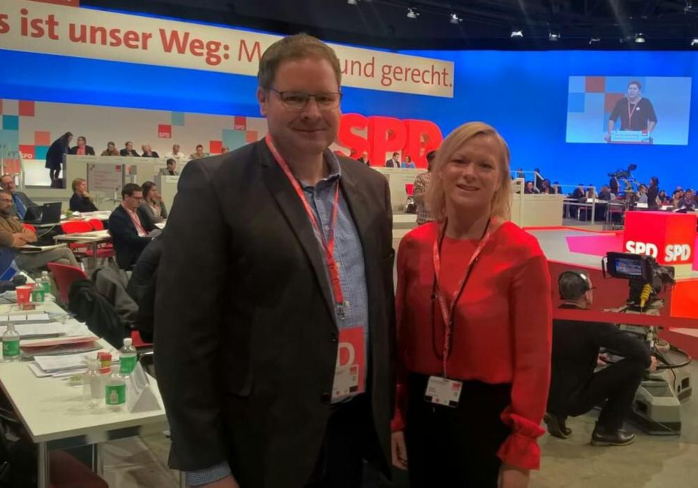 Marcus Bosse und Dunja Kreiser reisten zum SPD-Bundesparteitag nach Berlin. Foto: SPD
