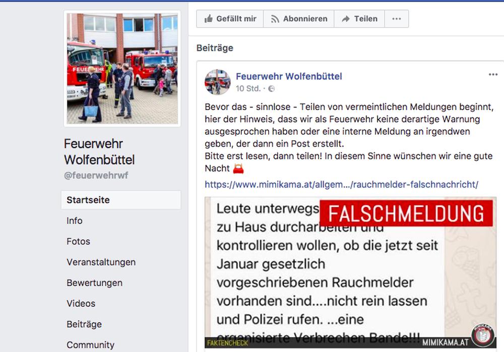 Die Feuerwehr Wolfenbüttel warnt auf ihrer Facebook-Seite vor einer Falschmeldung. Foto: Facebookscreenshot/Alexander Dontscheff