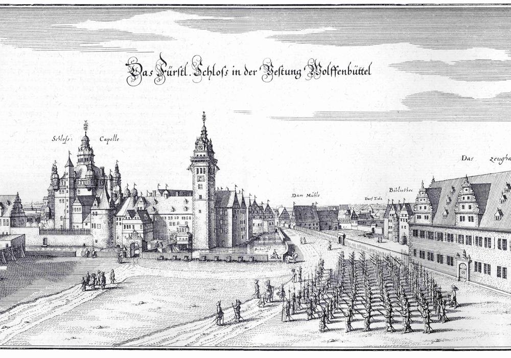 Schloss Wolfenbüttel von Osten, Caspar Merian nach Conrad Buno, Kupferstich 1654, Museum Wolfenbüttel. Foto: Kulturstadt Wolfenbüttel e.V.