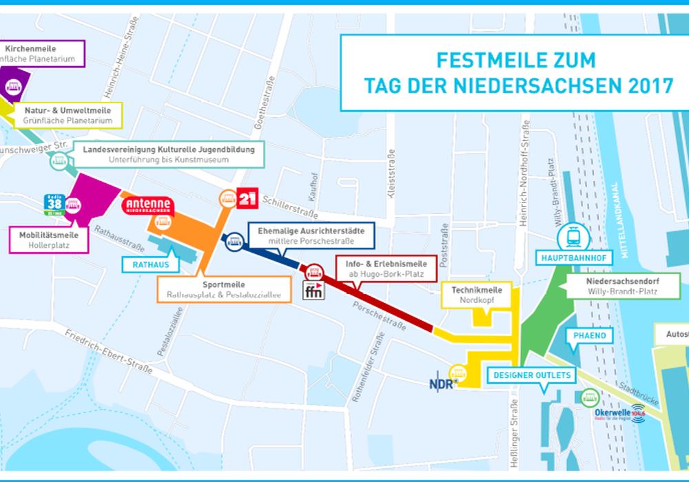 Der Grundriss der Festmeile für den Tag der Niedersachsen in Wolfsburg steht fest. Darstellung: Stadt Wolfsburg