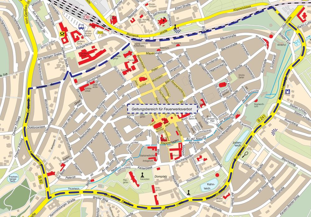 Lageplan (Stadt Goslar): In der Altstadt ist es auch in der Silvesternacht verboten, Feuerwerk zu zünden. Die Brandgefahr ist zu groß. Foto: Stadt Goslar