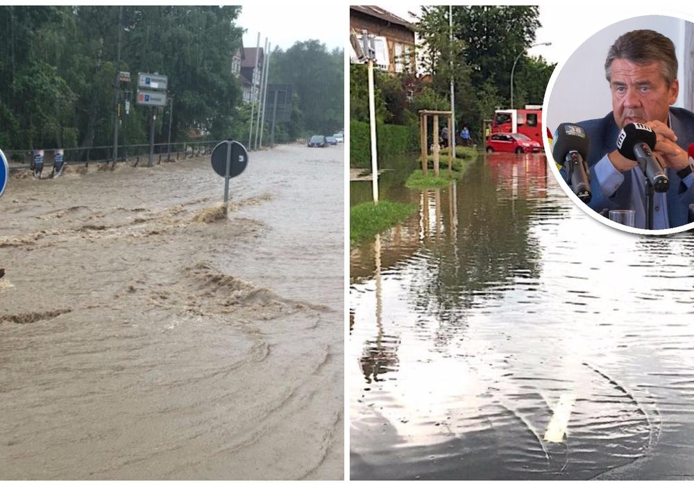 Sigmar Gabriel ist unzufrieden mit dem Hochwasserschutz im Harz. Foto: Nick Wenkel