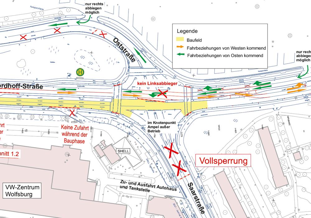 Heinrich-Nordhoff-Straße - zweite Bauphase. Grafik: Stadt Wolfsburg