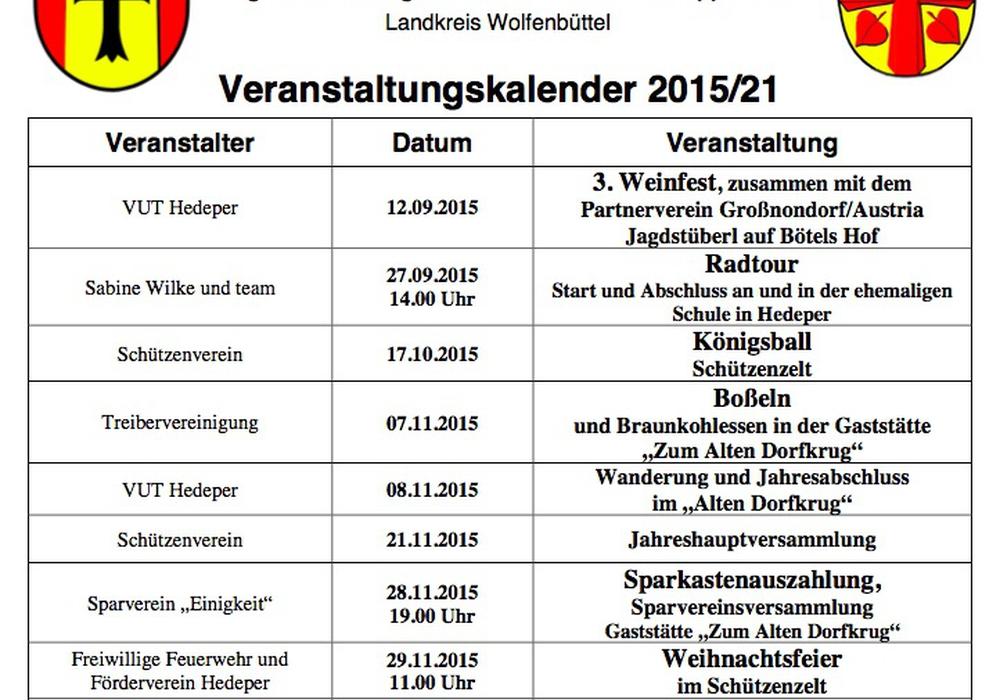 Der Veranstaltungskalender 2015 von der Gemeinde Hedeper ist da. Foto: Screenshot