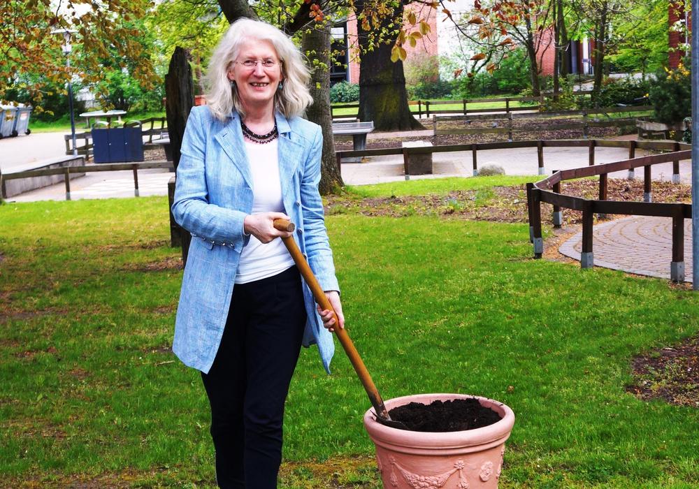 Urban Gardening in Braunschweig, Projektleiterin Ursula Hellert bepflanzt symbolisch den ersten Reissack, Foto: Hüttermann