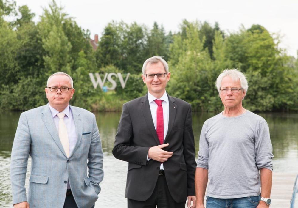 Andreas Meißler (Pressesprecher WSV 21), Meik Rahmsdorf (BLSK), Jürgen Basler (WSV 21). Foto: Jens Bartels