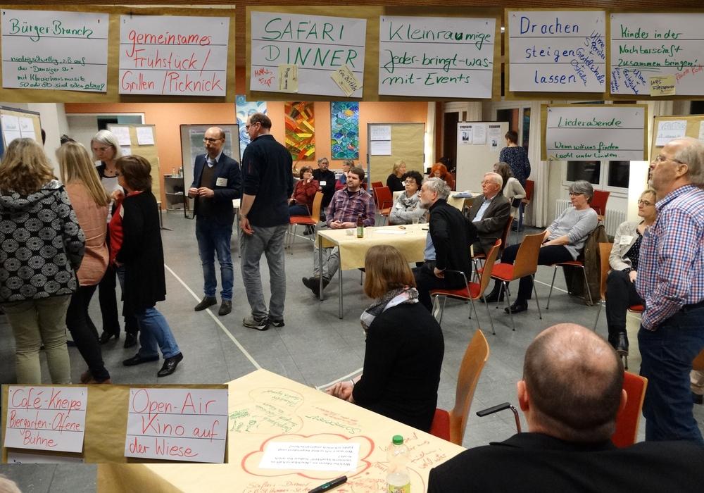 Lebhafte Gespräche und Ideensammlung beim Werkstatt-Abend des Wolfenbütteler Stadtteilnetzwerkes Nord-Ost. Foto: Andreas Riekeberg