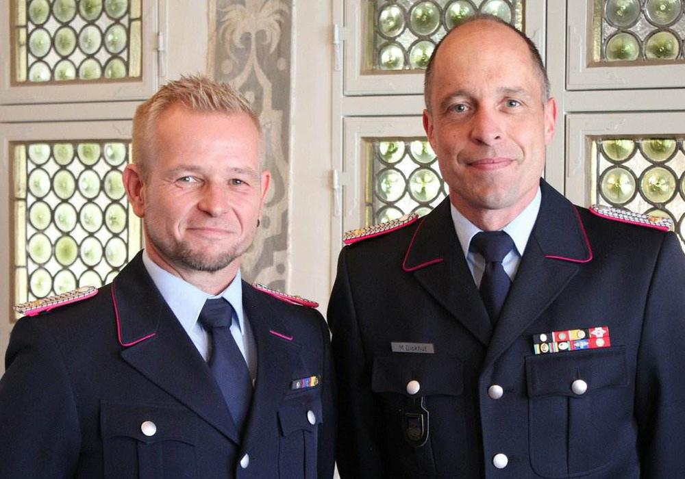 Olaf Glaeske und Marco Dickhut zogen Bilanz. Foto: Stadt Wolfenbüttel/Raedlein.