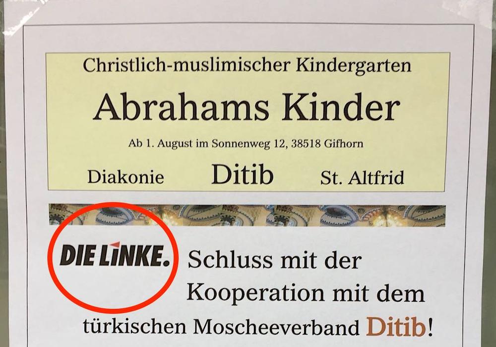 Dieser Flyer hängt in der Gifhorner Innenstadt. Anders als es scheint, ist dieser jedoch nicht von den Linken. Foto: Privat