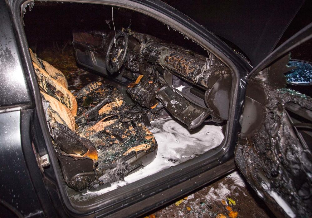 Das Auto stand in Vollbrand. Zum Glück konnten sich die Insassen rechtzeitig befreien. Fotos: Rudolf Karliczek
