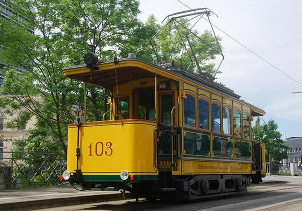 Der historische Triebwagen 103. Foto: Braunschweiger Interessengemeinschaft Nahverkehr e. V.