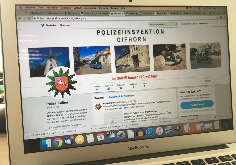 Der Gifhorner Polizei kann man ab sofort auch über Twitter folgen. Foto: Alexander Dontscheff