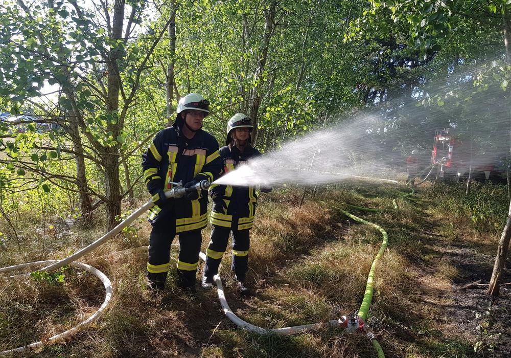 Die Einsatzkräfte bei den Löscharbeiten. Foto: Samtgemeindefeuerwehr Meinersen (Schaffhauser)