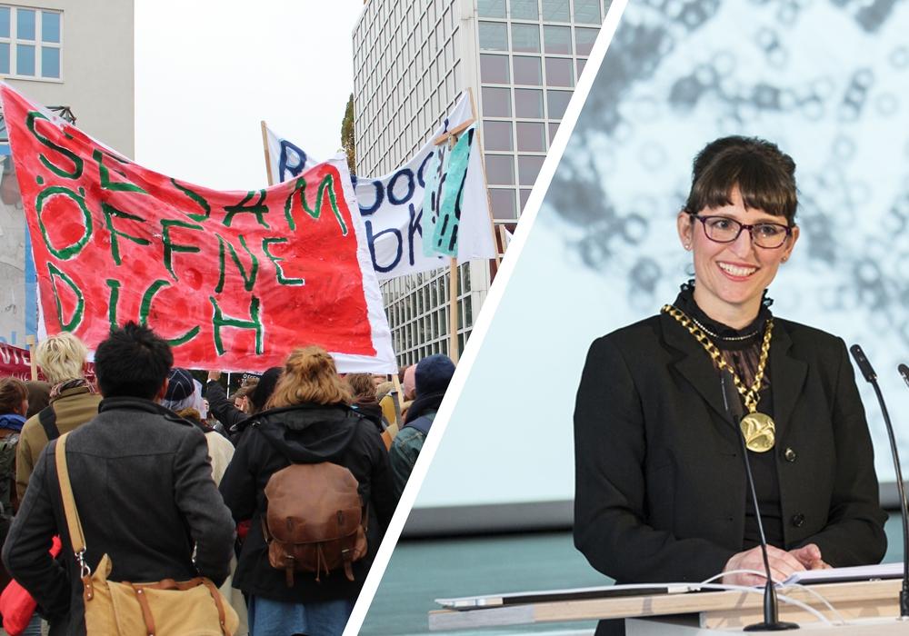 Im Streit um die Öffnungszeiten an der HBK lädt Präsidentin Vanessa Ohlraun (rechts) heute zu weiteren Gesprächen. Foto: Nick Wenkel/HBK