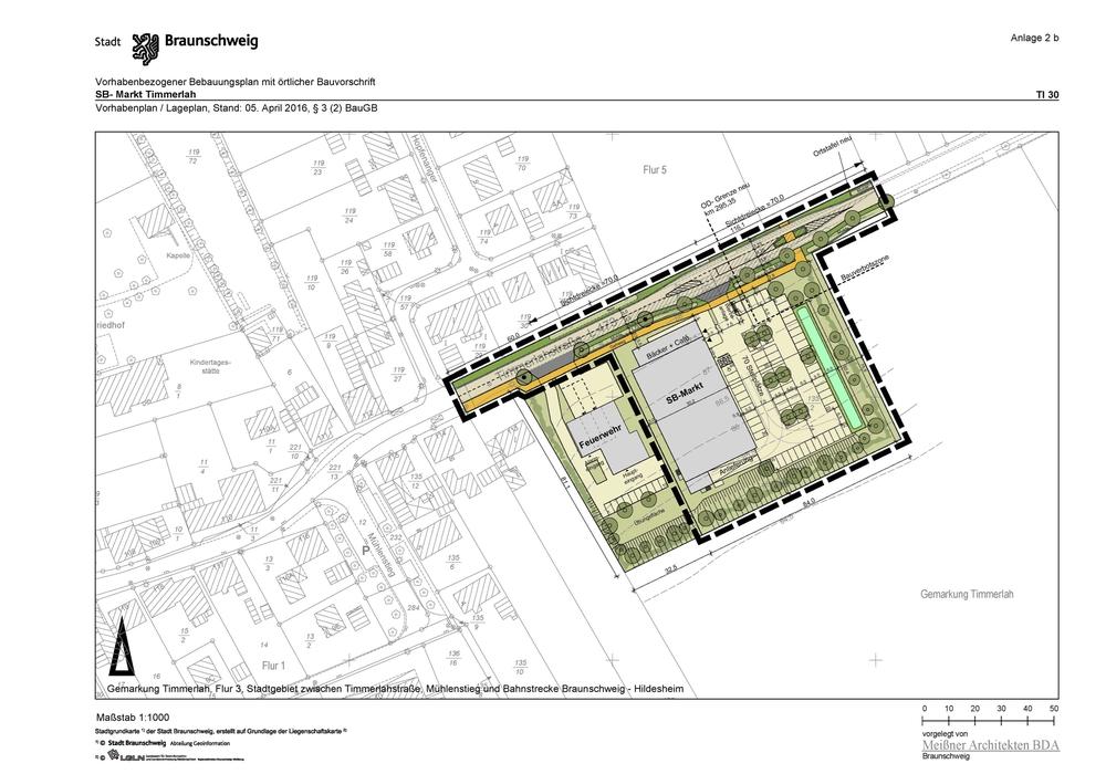Vorhabenplan, Supermarkt Timmerlah, Quelle: Stadt Braunschweig