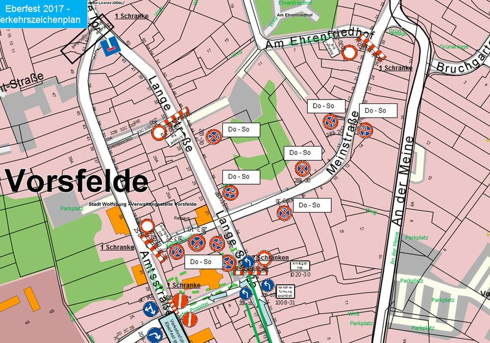 Für das Eberfest wir in Vorfelde die Verkehrsführung in mehreren Straßenzügen geändert. Grafik: Stadt Wolfsburg