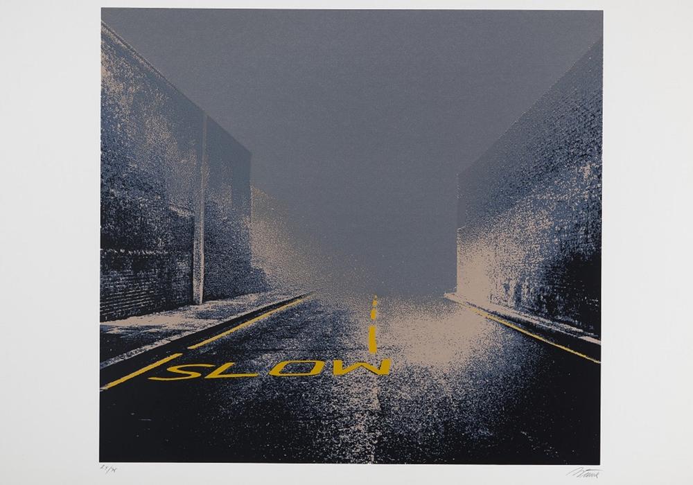 Gerd Winner, Slow im Nebel II, 1973, Siebdruck, 69,7 x 104,2 cm, Foto: Städtisches Museum Braunschweig, Dirk Scherer
