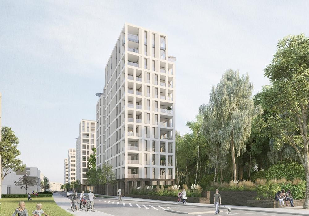 Das exponierte Wohnhaus, am Anfang der künftigen Waldstraße gelegen, markiert den südwestlichen Eingang in das neue Quartier Hellwinkel Terrassen. Foto: chora blau Visualisierung + Grafik, Hannover