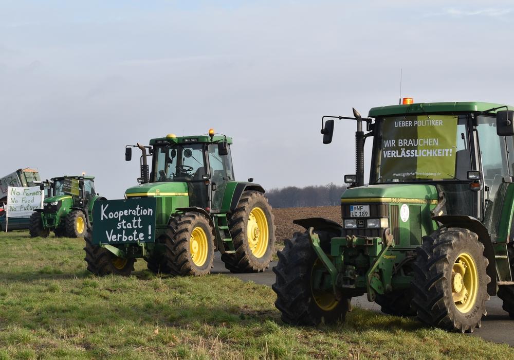 Die Landwirte waren heute erneut mit ihren Treckern unterwegs, um sich für eine gemeinsame Agrarpolitik einzusetzen. Allerdings haben sie dieses Mal von Blockaden abgesehen. Fotos: Annabell Pommerehne