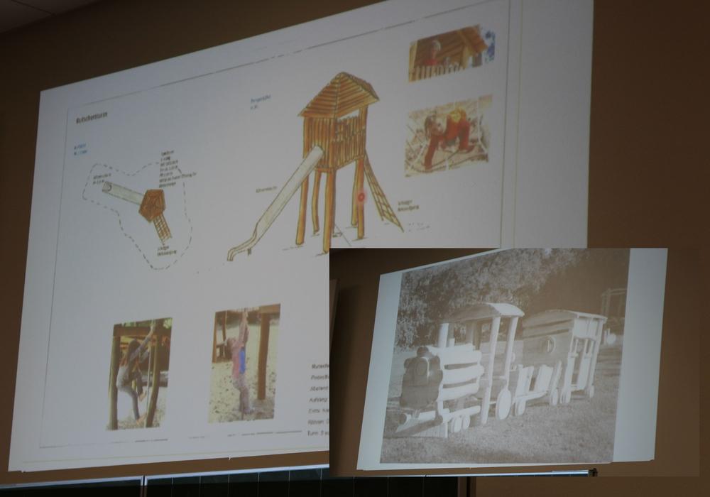 """Ein Aussichtsturm mit Röhrenrutsche und eine Holzeisenbahn sollen auf den Spielplatz """"Schöner Garten"""" kommen. Fotos: Antonia Henker"""