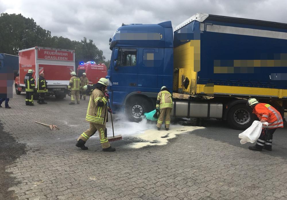 Gerade noch rechtzeitig kam dieser LKW auf den Parkplatz. Fotos: Feuerwehr Grasleben