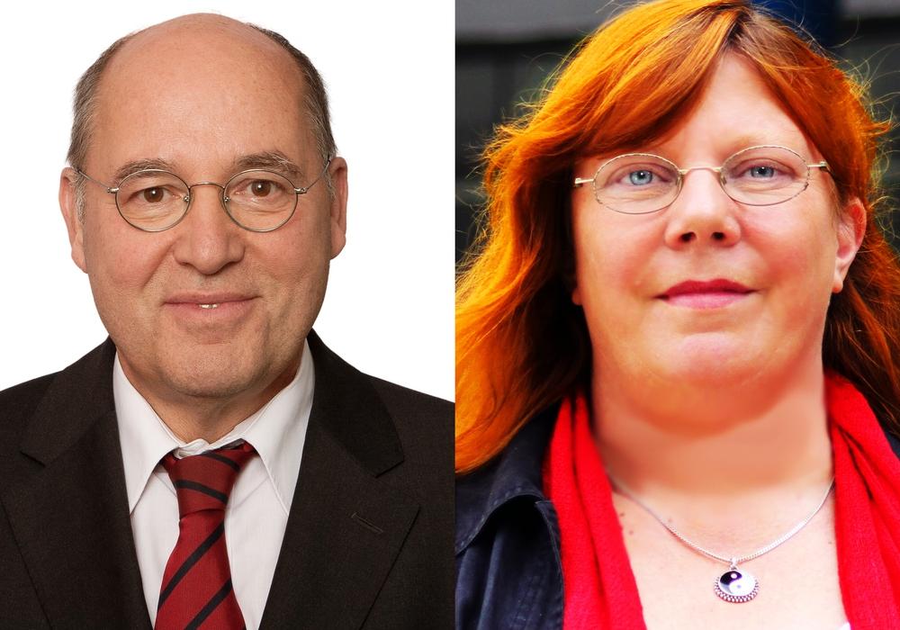 Pia Zimmermann (r.)  will am Mittwoch u.a. mit Gregor Gysi (l.) über das Aufkommen des Rechtspopulismus diskutieren. Fotos: Die Linke