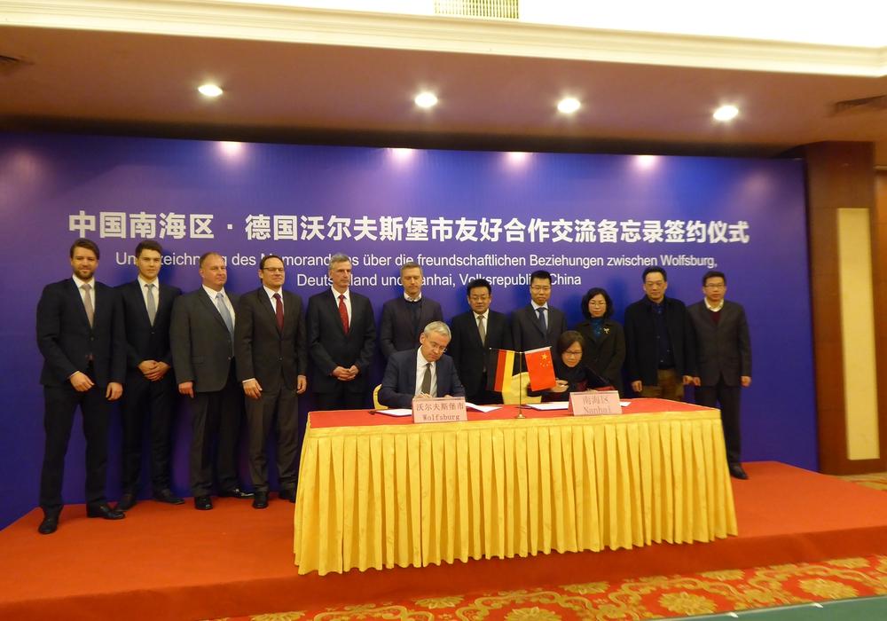 In der vergangenen Woche war eine Delegation, bestehend aus Vertretern der Stadt Wolfsburg sowie regionalen Unternehmen und Institutionen, zu Gast in Nanhai/China. Foto: Stadt Wolfsburg