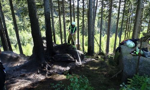 Kräftezehrende Löscharbeiten in unwegsamen und steilem Waldgebiet.