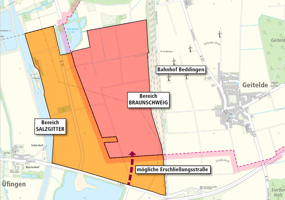 Das Interkommunales Gewerbegebiet. Karte: Stadt Braunschweig, Stadt Salzgitter