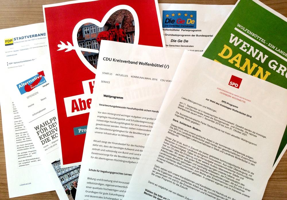 Auszüge der Wahlprogramme der Wolfenbütteler Parteien. Symbolfoto: Marc Angerstein