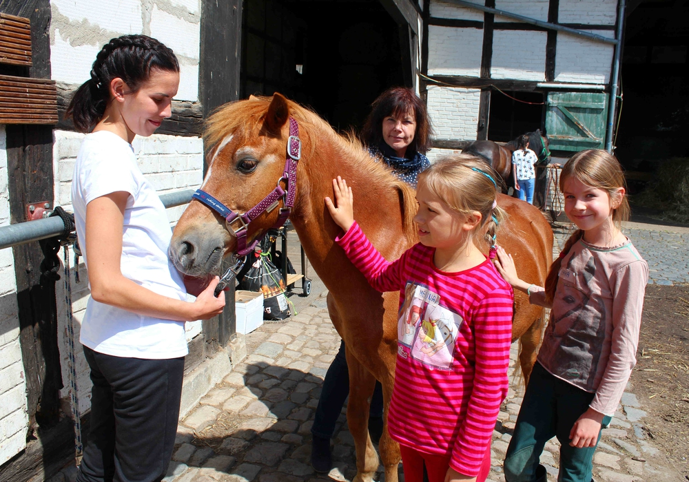Melina (7 Jahre) aus Klein Denkte und Emma (10) aus Seinstedt bei einem Pferd. Laura Himbert und Annette Gerlach sehen zu. Foto:Bernd-Uwe Meyer