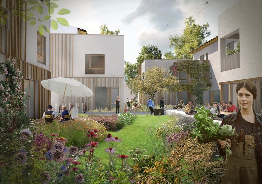 Mögliche Innenhofsituation der Baugemeinschaft Sonnenfänger. Visualisierung: AREA, Agentur für räumliche Entwicklungsalternativen. Fotos: Stadt Wolfsburg