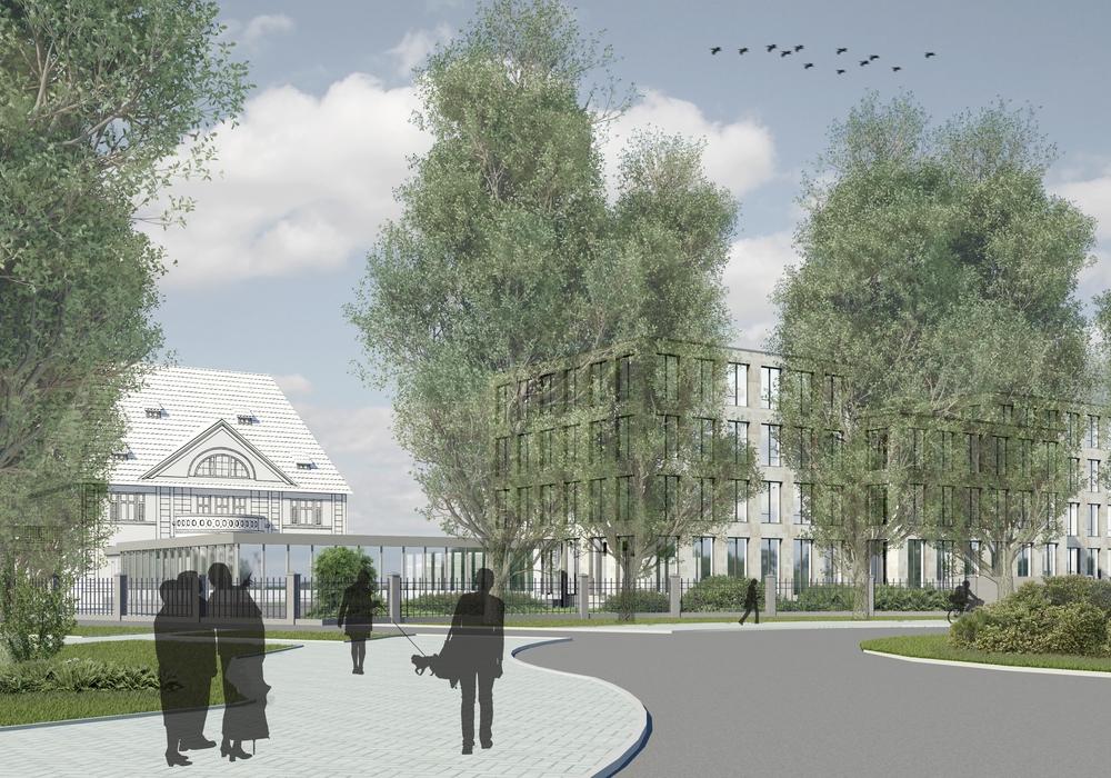 Die Volksbank stellte am Freitag erste konkrete Pläne zum Neubau vor.  HIER DER Blick vom Kreisel auf den Bau. Fotos: Architekturbüro Möhlendick.