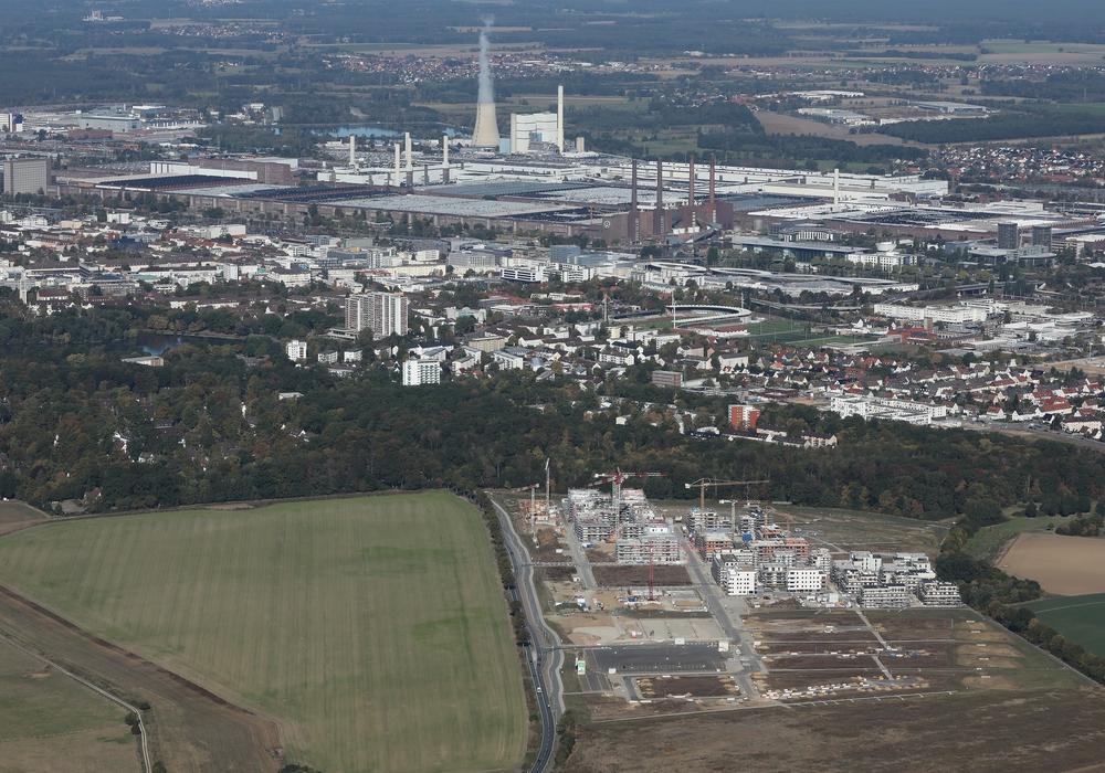 Ein Luftbild der Steimker Gärten in Wolfsburg. Foto: Matthias Leitzke