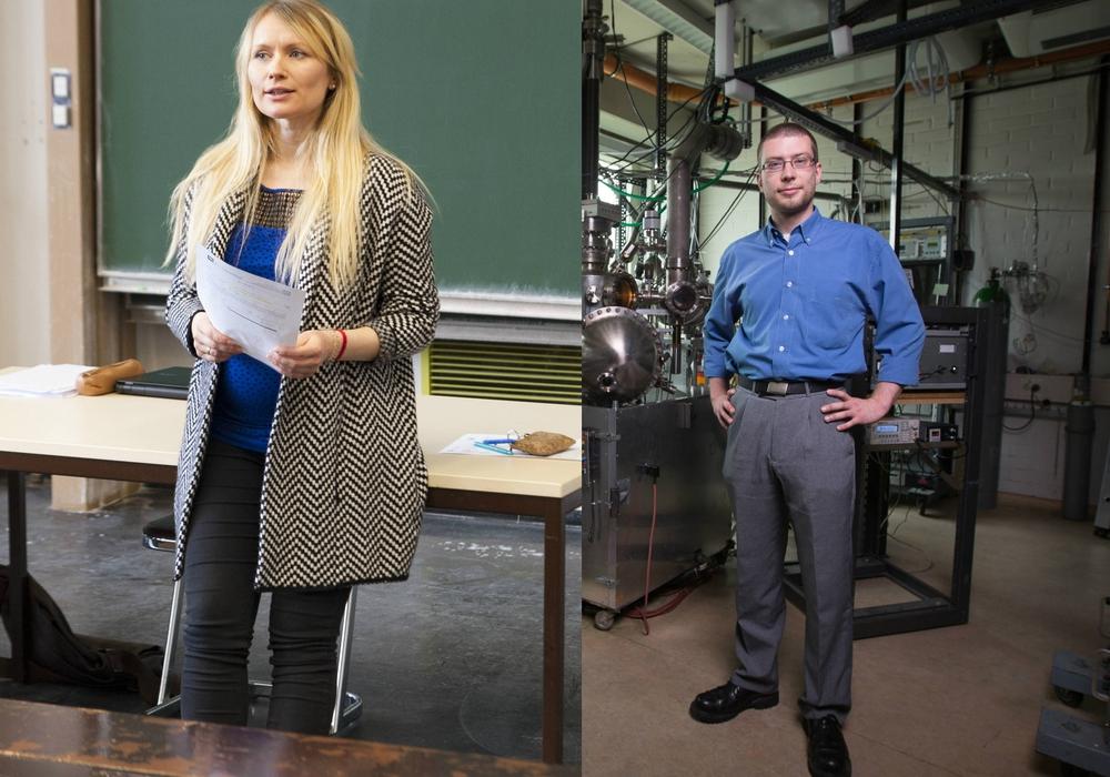 Diplom-Ingenieurin Eugenia Barthelmie erhielt den ersten Platz und Dr. Sebastian Dahle den zweiten Platz des Lehrpreieses 2017. Foto: Clausthal-Zellerfeld