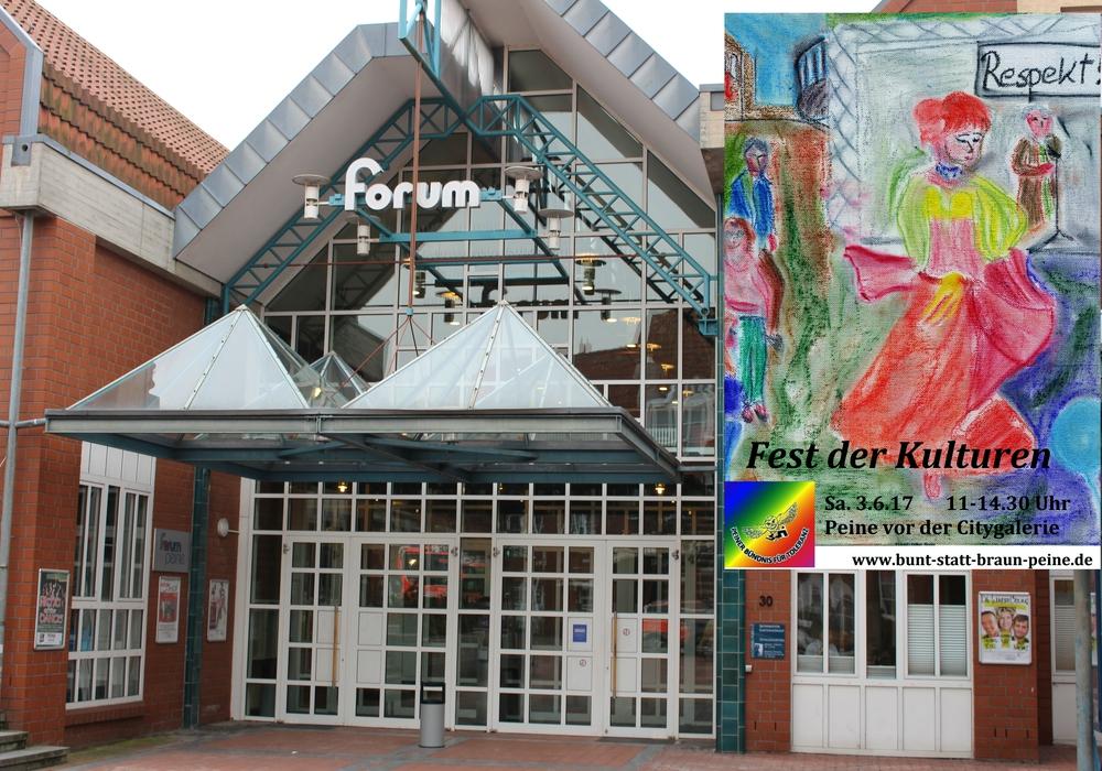 Mitte März findet ein Planungstreffen für das Fest der Kulturen im Sommer im Peiner Forum statt. Foto: Antonia Henker/Plakat: Ev.-luth. Kirchenkreis Peine