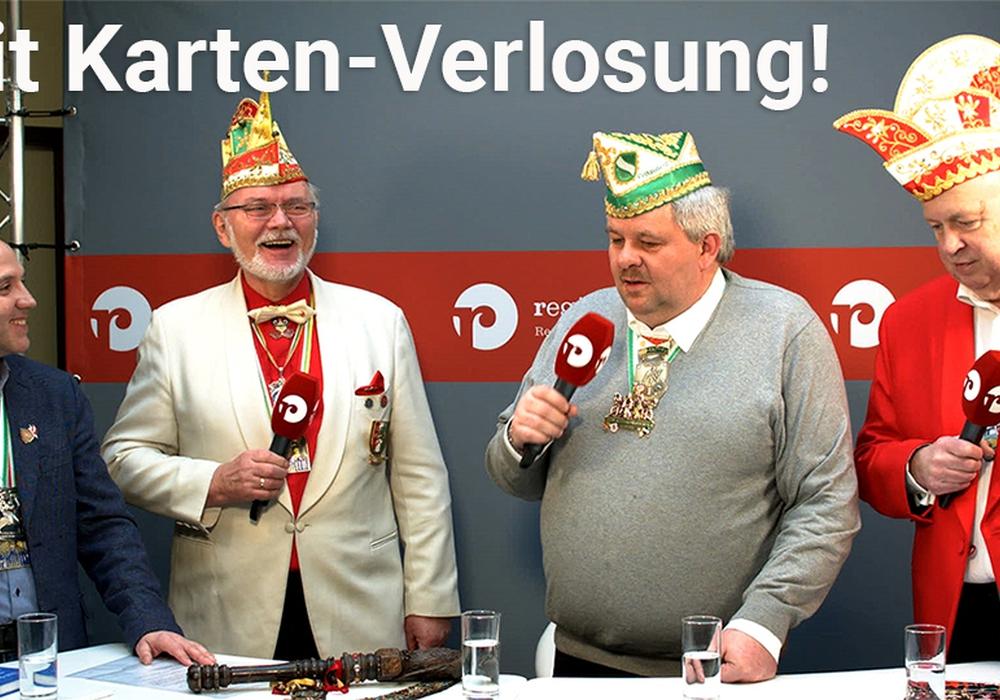 regionalHeute.de-Moderator André Ehlers mit den drei Karnevals-Präsidenten Bernd Ratayczak (BKG), Karsten Heidrich (KVR) und Jürgen Buchheister (MKG). Videos: Werner Heise