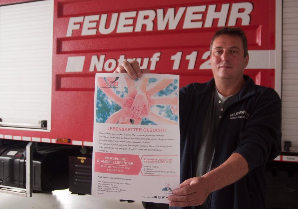 Typisierung: Ortsbrandmeister Ralf Böhm hofft auf viele Teilnehmer. Foto: Schaffhauser, Samtgemeindepressesprecher