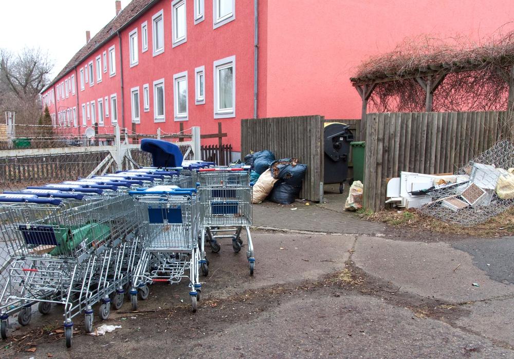 Am 20. Februar wurde dieses Foto geschossen: Einkaufswagen und Sperrmüll prägten das Bild in der Breslauer Straße. Foto: R. Karliczek